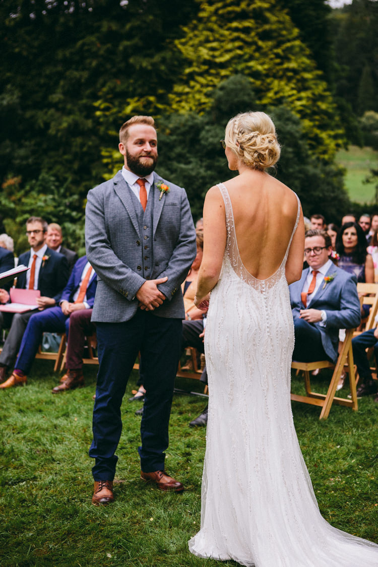 Sottero & Midgley Beaded Low Back Dress Gown Bride Bridal Colourful Outdoorsy Tipi Wedding http://amybphotography.co.uk/
