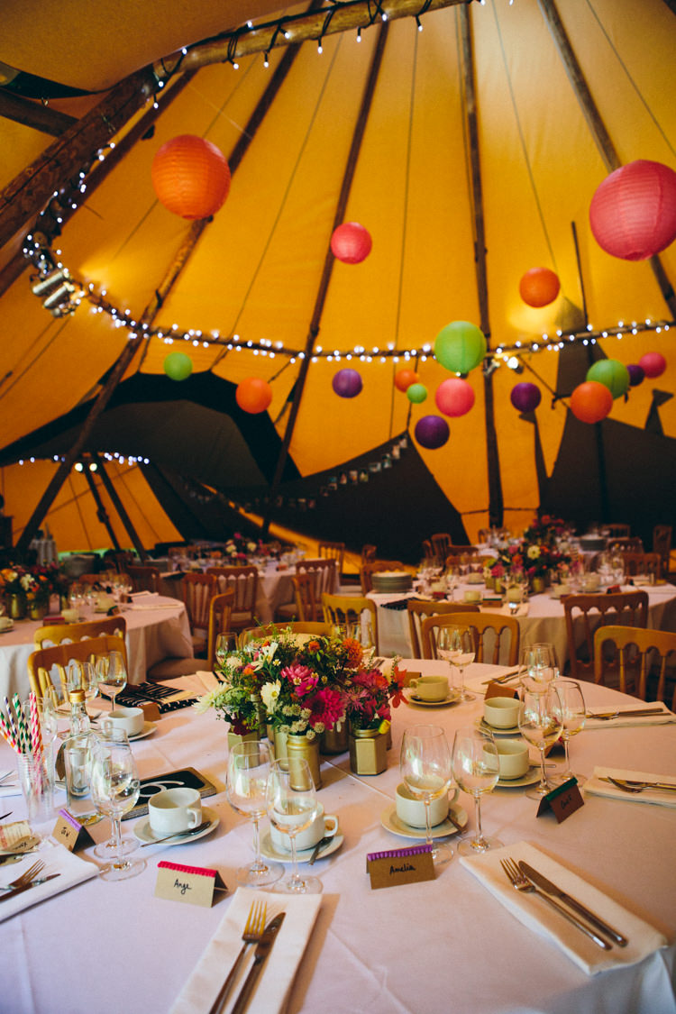 Lanterns Fairy Lights Colourful Outdoorsy Tipi Wedding http://amybphotography.co.uk/