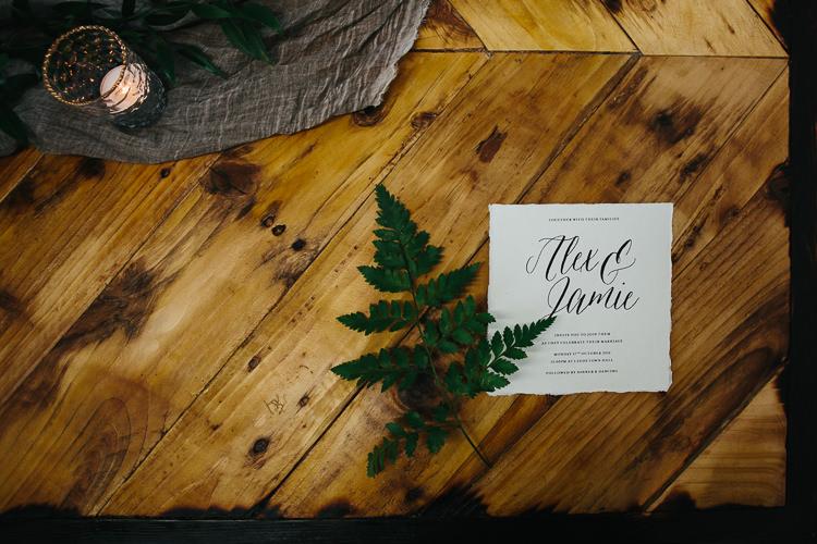 Fern Calligraphy Stationery Invitation Rustic Industrial Warehouse Wedding Ideas http://www.timdunk.com/