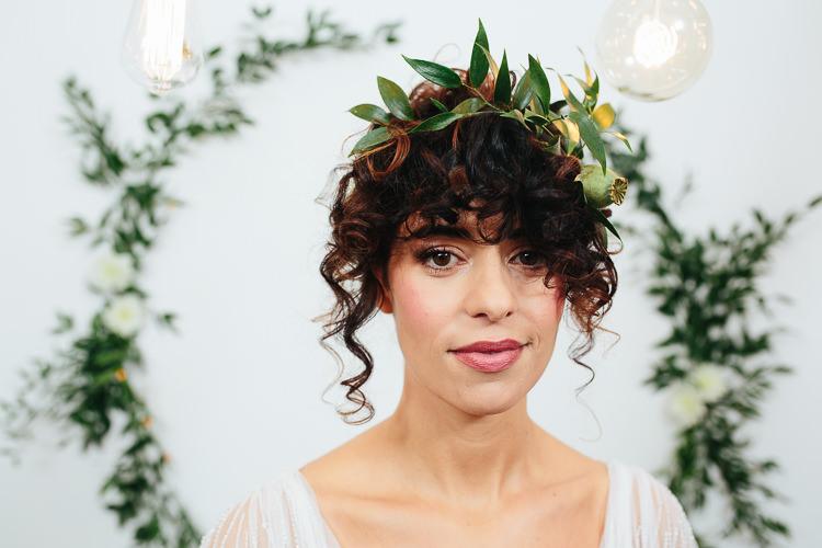 Flower Crown Greenery Foliage Bride Bridal Rustic Industrial Warehouse Wedding Ideas http://www.timdunk.com/