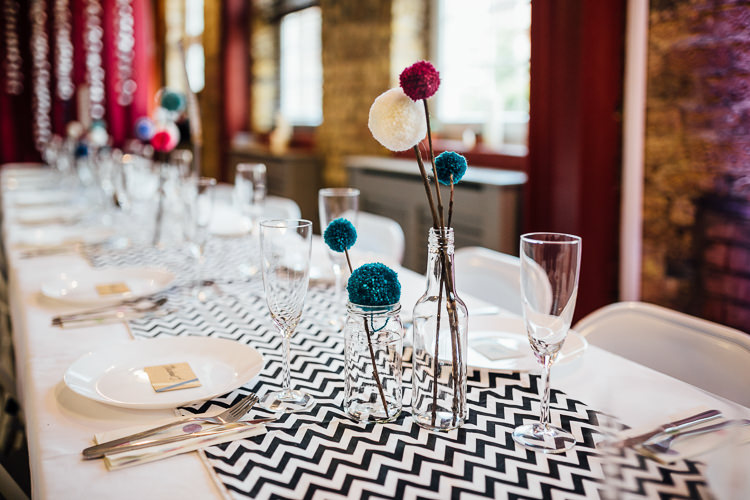 Pom Pom Wool Centrepieces Jars Decor Intimate Urban Foodie Wedding http://www.beatriciphotography.co.uk/