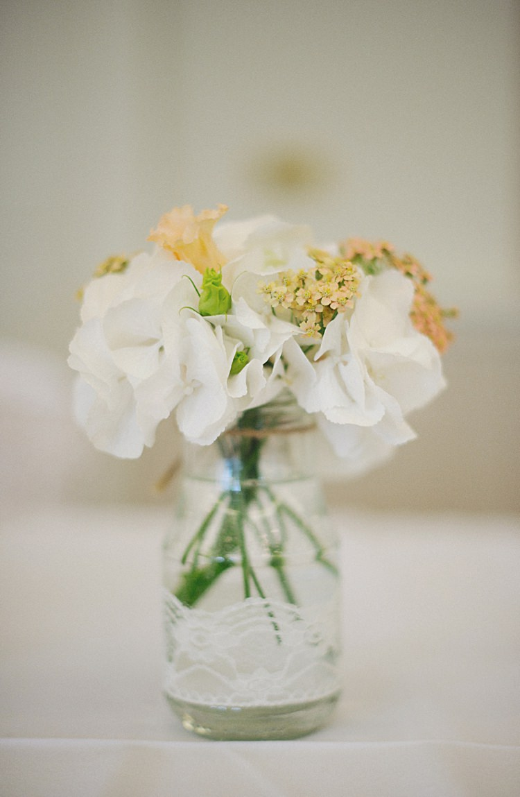Lace Jar Flowers White Hydrangea Natural Peach Garden Wedding http://www.juliaandyou.co.uk/