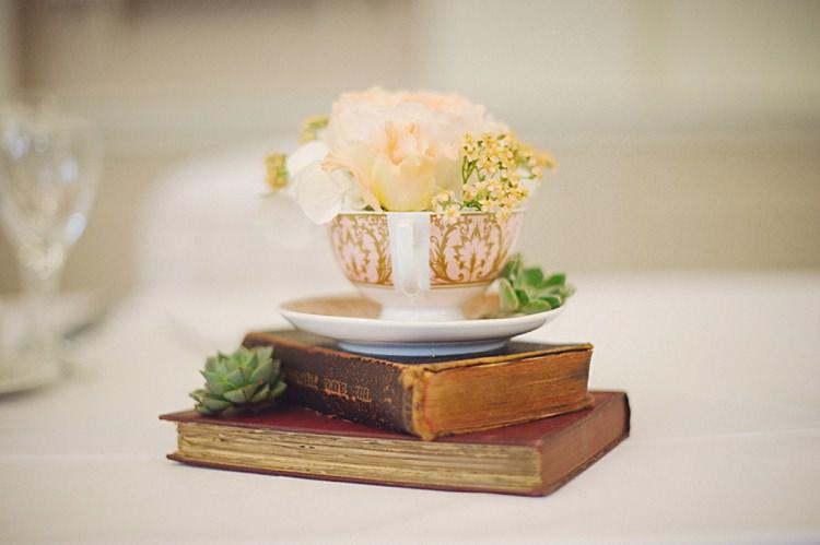 Books Tea Cup Flowers Decor Natural Peach Garden Wedding http://www.juliaandyou.co.uk/