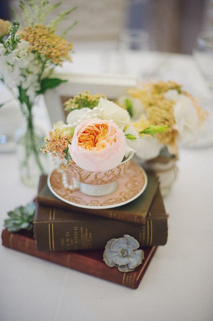 Rose Tea Cup Flower Books Decor Centrepiece Natural Peach Garden Wedding http://www.juliaandyou.co.uk/