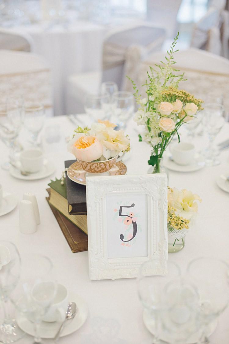 Floral Table Number Stationery Frame Natural Peach Garden Wedding http://www.juliaandyou.co.uk/