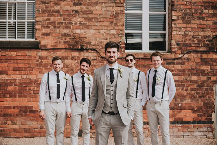 Grey Suit Black Tie Groom Suit Braces Groomsmen Industrial Cool Mill Greenery Wedding http://www.beckyryanphotography.co.uk/