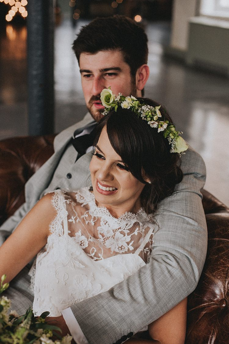 Flower Crown Bride Bridal Fringe Bangs Industrial Cool Mill Greenery Wedding http://www.beckyryanphotography.co.uk/