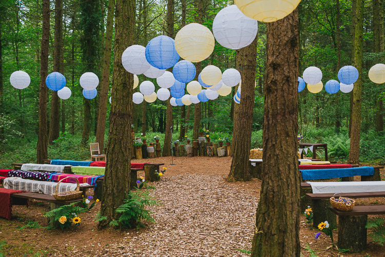 Camp Katur Ceremony Outdoor Lanterns Glade Hay Bales Hand Crafted Camp Woodland Wedding http://bloomweddings.co.uk/