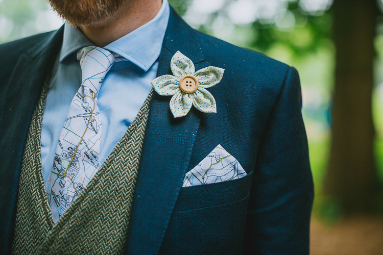 Fabric Flower Buttonhole Map Tie Groom Hand Crafted Camp Woodland Wedding http://bloomweddings.co.uk/