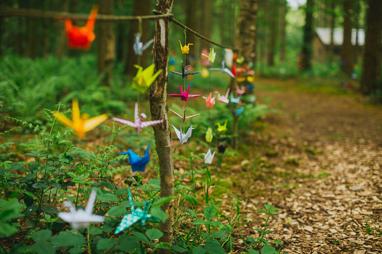 Paper Cranes Origami Hand Crafted Camp Woodland Wedding http://bloomweddings.co.uk/
