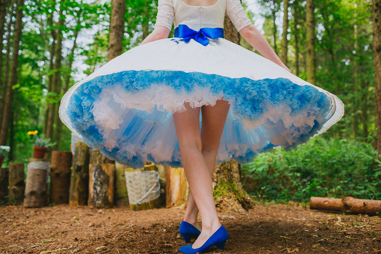Petticoat Bride Bridal Dress Short Blue Gown Hand Crafted Camp Woodland Wedding http://bloomweddings.co.uk/