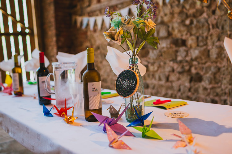 Bottle Paper Flowers Hand Crafted Camp Woodland Wedding http://bloomweddings.co.uk/