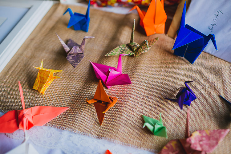 Origami Paper Cranes Hand Crafted Camp Woodland Wedding http://bloomweddings.co.uk/