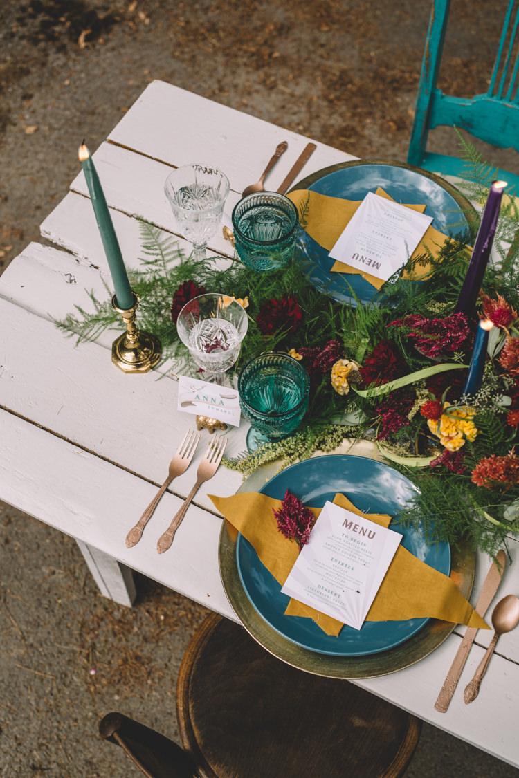 Tablescape Decor Flowers Place Setting Mint Mustard Boho Gypsy Vintage Circus Wedding Ideas http://www.oakwoodphotography.com/
