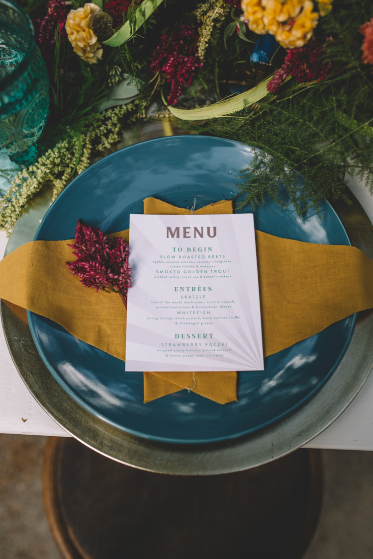 Place Setting Menu Mustard Mint Boho Gypsy Vintage Circus Wedding Ideas http://www.oakwoodphotography.com/