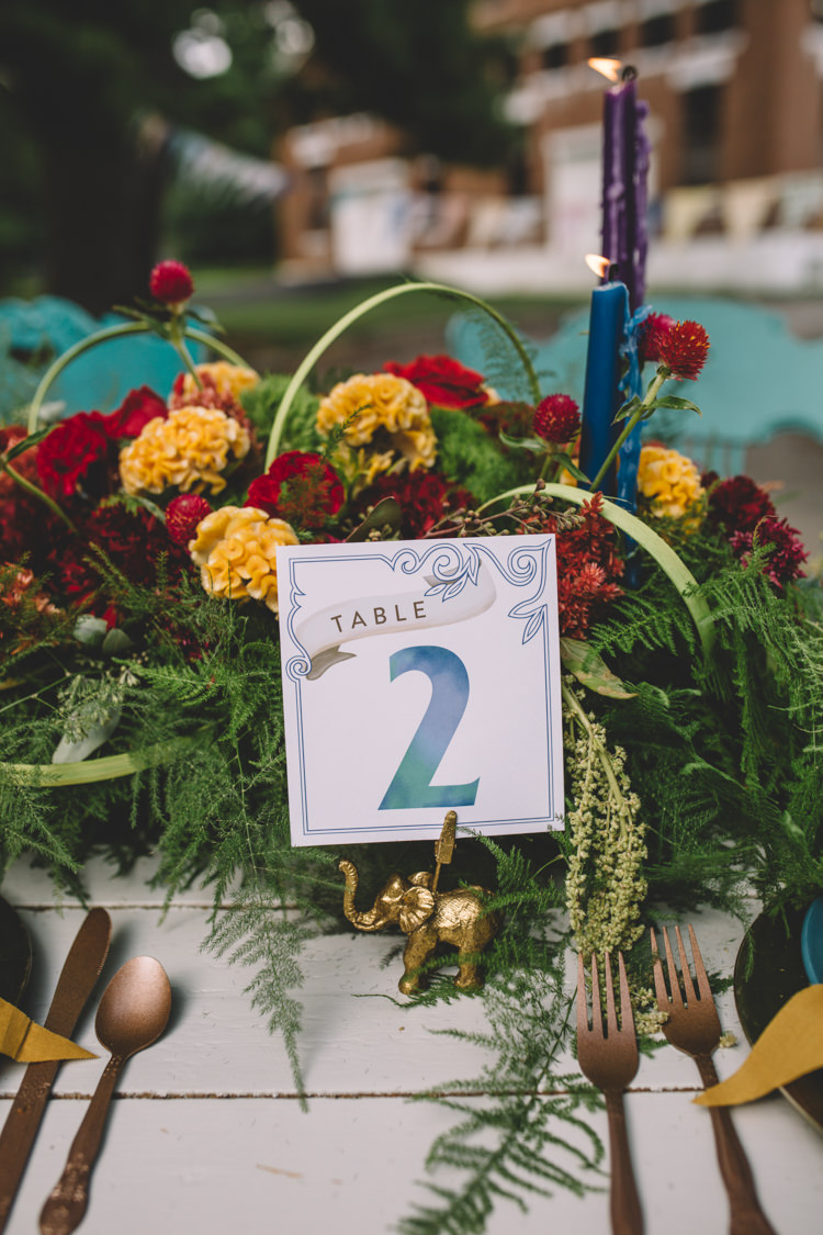 Table Number Stationery Flowers Boho Gypsy Vintage Circus Wedding Ideas http://www.oakwoodphotography.com/