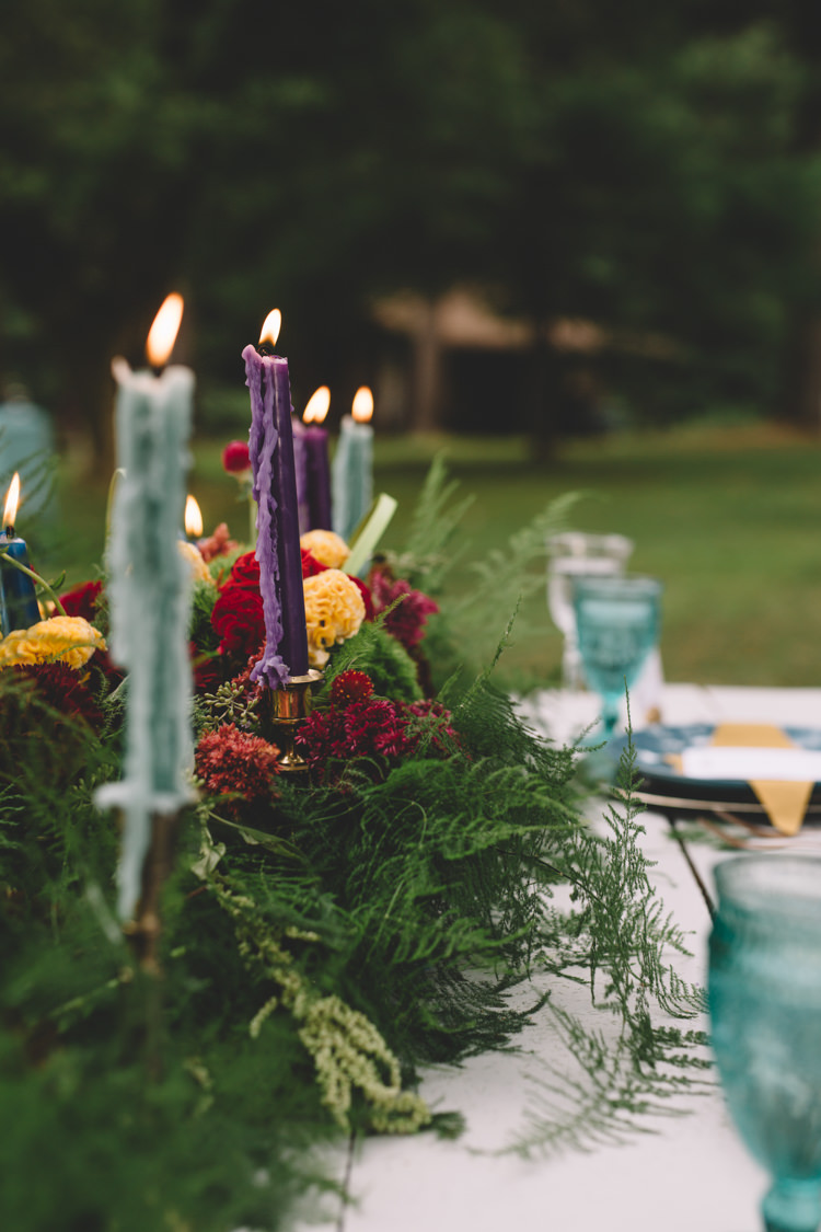 Candles Foliage Greenery Flowers Table Decor Centrepiece Boho Gypsy Vintage Circus Wedding Ideas http://www.oakwoodphotography.com/