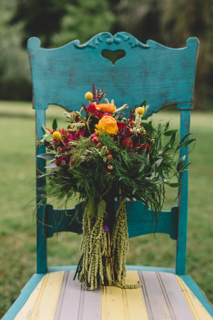 Bouquet Yellow Red Flowers Bride Bridal Boho Gypsy Vintage Circus Wedding Ideas http://www.oakwoodphotography.com/