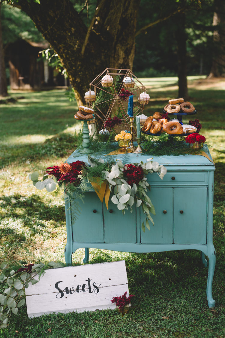 Furniture Dresser Dessert Cake Table Mint Boho Gypsy Vintage Circus Wedding Ideas http://www.oakwoodphotography.com/