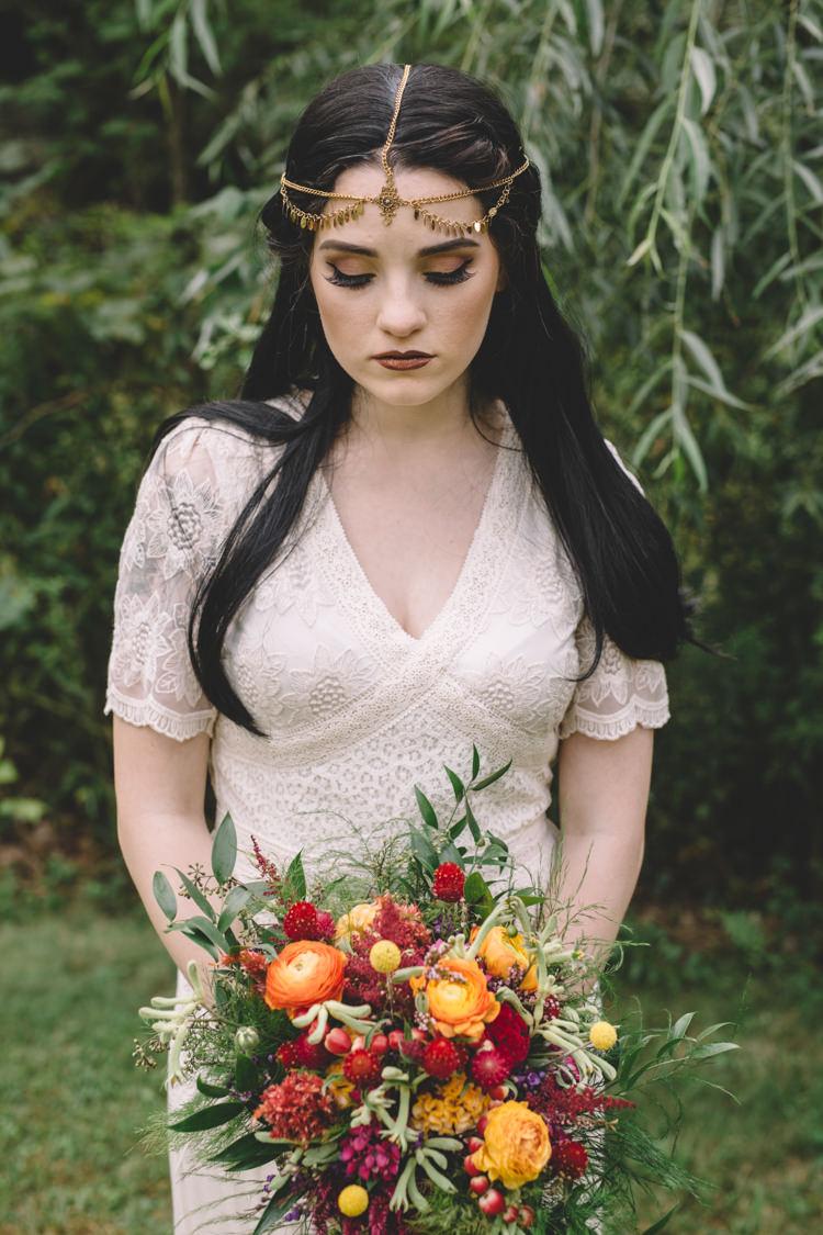 Bride Bridal Make Up Bouquet Boho Gypsy Vintage Circus Wedding Ideas http://www.oakwoodphotography.com/