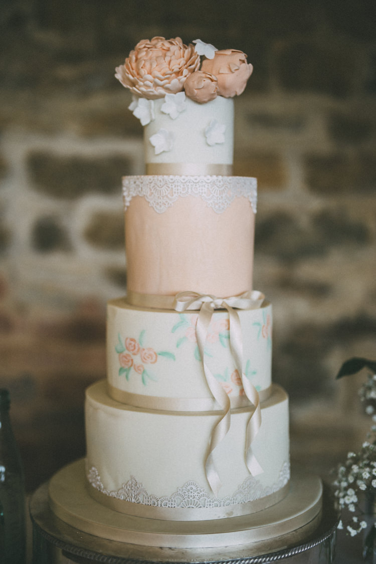 Cake Lace Floral Ribbon Petals Pretty Peach Boho Wedding http://liamsmithphotography.com/