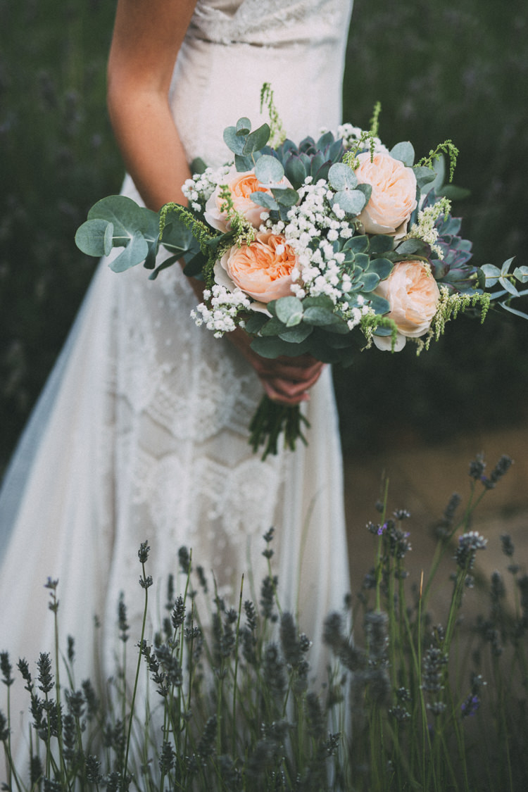 Bouquet Flowers Rose Gypsophila Eucalyptus Succulent Bride Bridal Pretty Peach Boho Wedding http://liamsmithphotography.com/