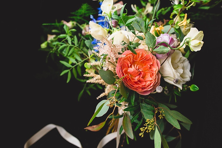 Bouquet Peach Coral Rose Greenery Bride Bridal Eclectic Foliage Edison Lights Wedding http://www.tobiahtayo.com/