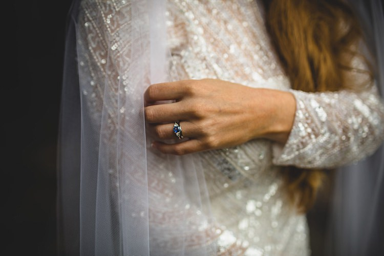 Sapphire Diamond Engagement Ring Eclectic Foliage Edison Lights Wedding http://www.tobiahtayo.com/
