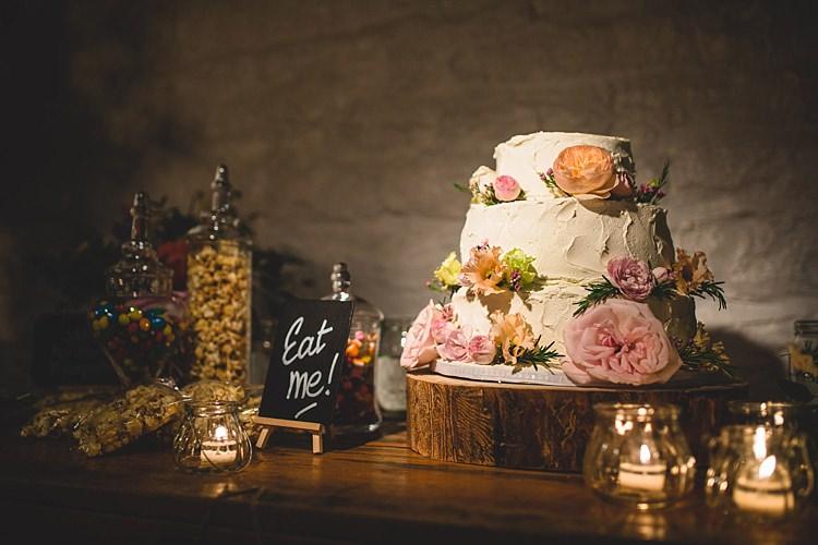 Buttercream Cake Flowers Sweet Table Eclectic Foliage Edison Lights Wedding http://www.tobiahtayo.com/