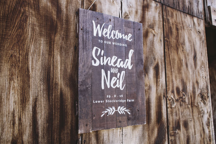 Wooden Welcome Sign Rustic Quintessentially English Countryside Wedding http://www.sarahmorris-photography.com/