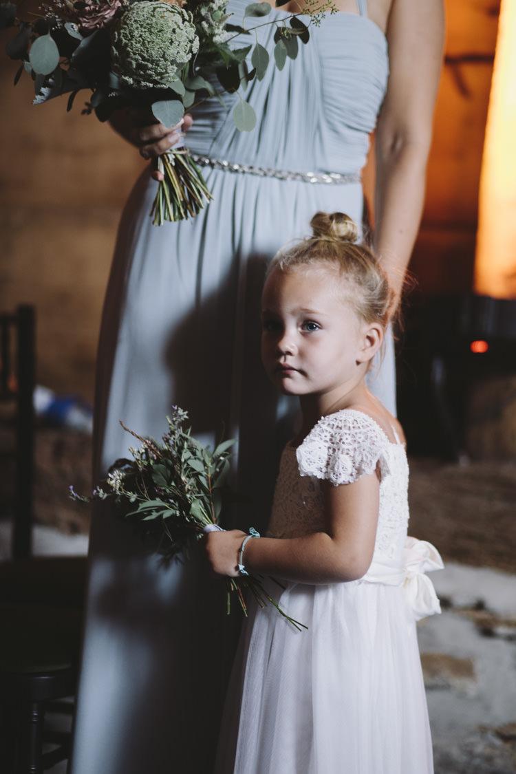 Flower Girl Dress Hair Bun Rustic Quintessentially English Countryside Wedding http://www.sarahmorris-photography.com/