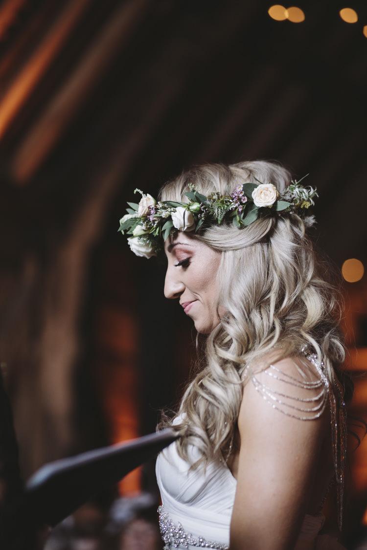 Flower Crown Hair Bride Bridal Curls Waves Rustic Quintessentially English Countryside Wedding http://www.sarahmorris-photography.com/