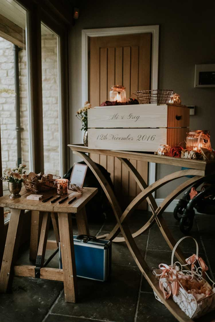 Personalised Card Box Crate Rose Gold Autumn Barn Wedding http://www.weddingphotographyincheltenham.co.uk/