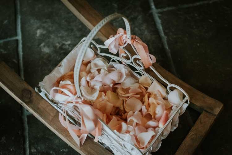 Petal Basket Confetti Rose Gold Autumn Barn Wedding http://www.weddingphotographyincheltenham.co.uk/