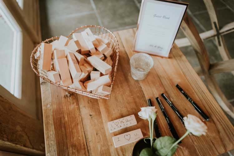 Jenga Guest Book Rose Gold Autumn Barn Wedding http://www.weddingphotographyincheltenham.co.uk/