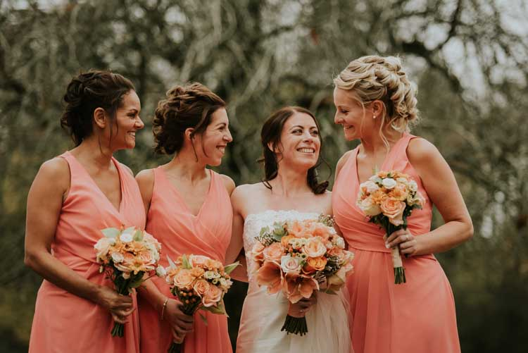 Coral Pink Bridesmaid Dresses Rose Gold Autumn Barn Wedding http://www.weddingphotographyincheltenham.co.uk/