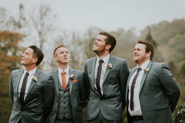 Grey Groom Groomsmen Suits Rose Gold Autumn Barn Wedding http://www.weddingphotographyincheltenham.co.uk/