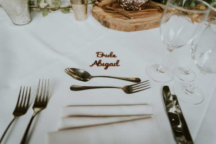 Wooden Cut Out Place Name Rose Gold Autumn Barn Wedding http://www.weddingphotographyincheltenham.co.uk/