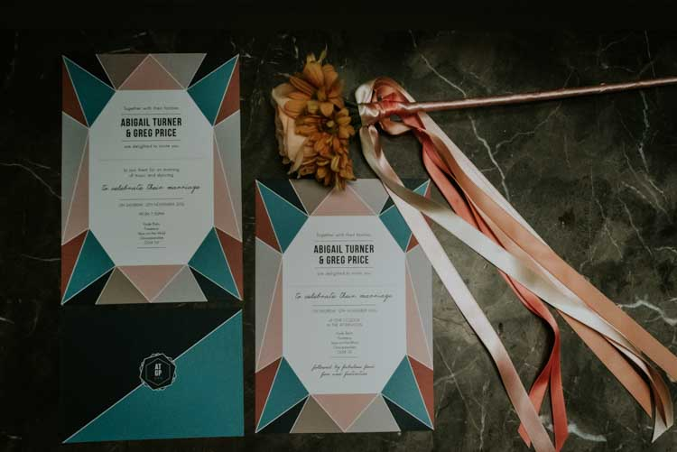 Geometric Stationery Invitations Invites Rose Gold Autumn Barn Wedding http://www.weddingphotographyincheltenham.co.uk/