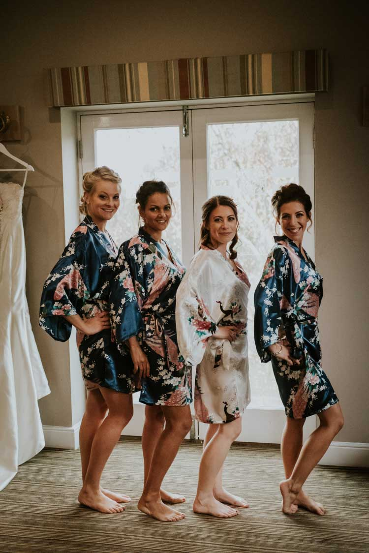 Floral Dressing Gowns Bride Bridal Bridesmaids Rose Gold Autumn Barn Wedding http://www.weddingphotographyincheltenham.co.uk/