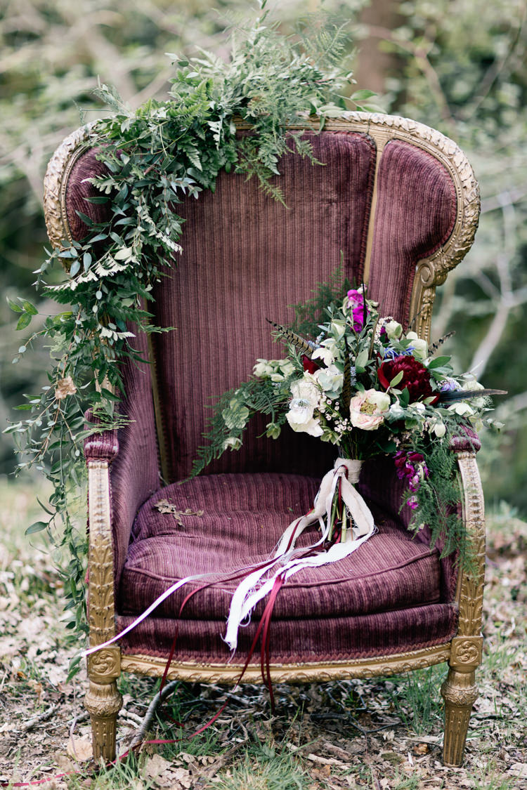 Chair Bouquet Flowers Ribbons Feathers Red White Greenery Bride Bridal Dreamy Woodlanders Folk Wedding Ideas http://www.jobradbury.co.uk/