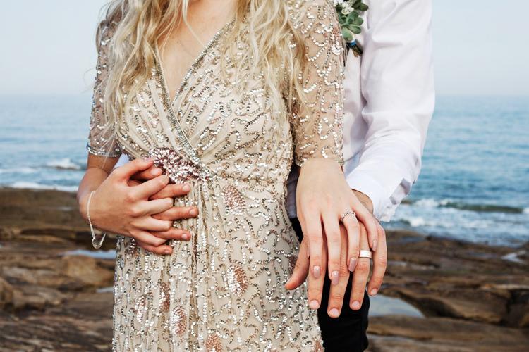 Gold Sequin Dress Bride Bridal Sleeves Luxe Bohemian Beach Wedding Ideas http://www.zoeemilie.co.uk/