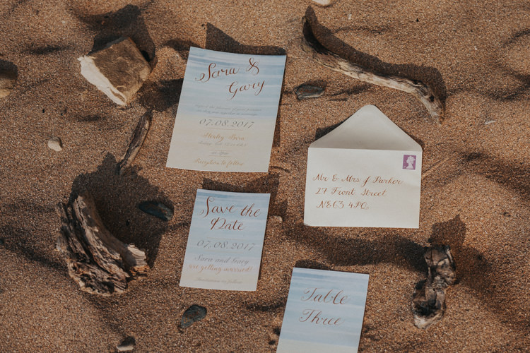 Watercolour Gold Blue Calligraphy Stationery Invitations Luxe Bohemian Beach Wedding Ideas http://www.zoeemilie.co.uk/