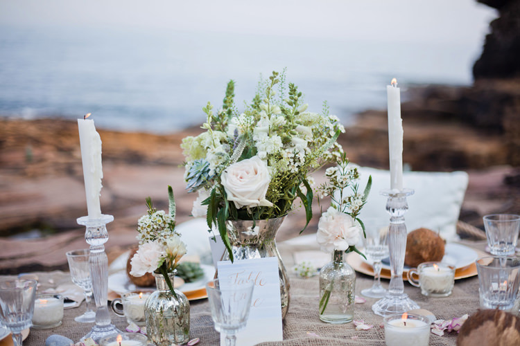 Decor Tablescape Hessian Coconut Succulent Driftwood Calligraphy Flowers Candles Luxe Bohemian Beach Wedding Ideas http://www.zoeemilie.co.uk/