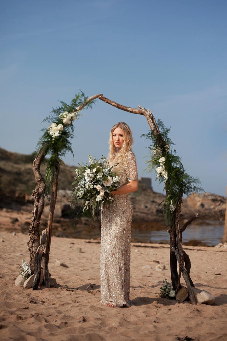 Gold Sequin Dress Bride Bridal Jenny Packham No 1 Luxe Bohemian Beach Wedding Ideas http://www.zoeemilie.co.uk/