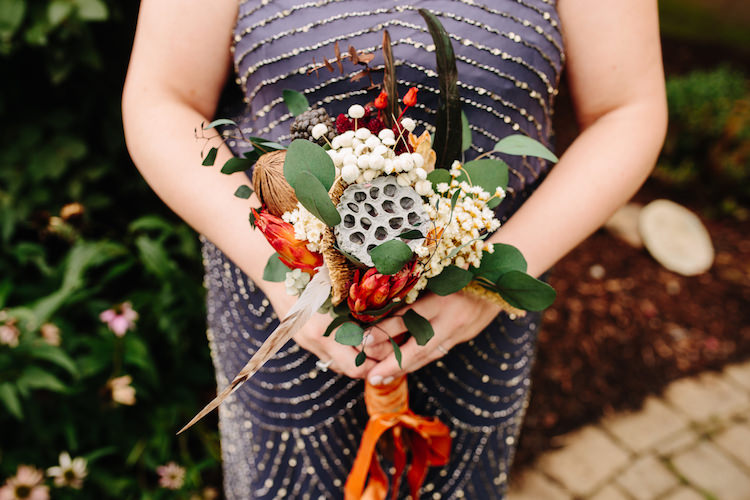 Bridesmaid Grey Sequin Dress Bouquet Dried Flowers Feathers Orange Antique Velvet Ribbon Art Nouveau Autumn Burgundy Wedding http://www.jbonadiophoto.com/