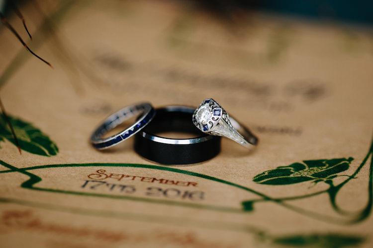 Engagement Wedding Bands Art Deco Sapphire Diamond Wedding Stationery Art Nouveau Autumn Burgundy Wedding http://www.jbonadiophoto.com/