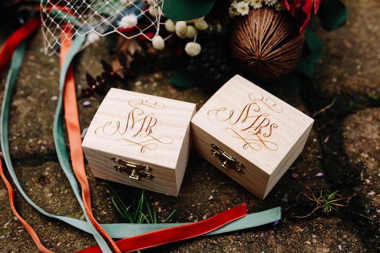 Wooden Mr Mrs Ring Boxes Calligraphy Dried Flower Bouquet Orange Green Velvet Ribbons Art Nouveau Autumn Burgundy Wedding http://www.jbonadiophoto.com/