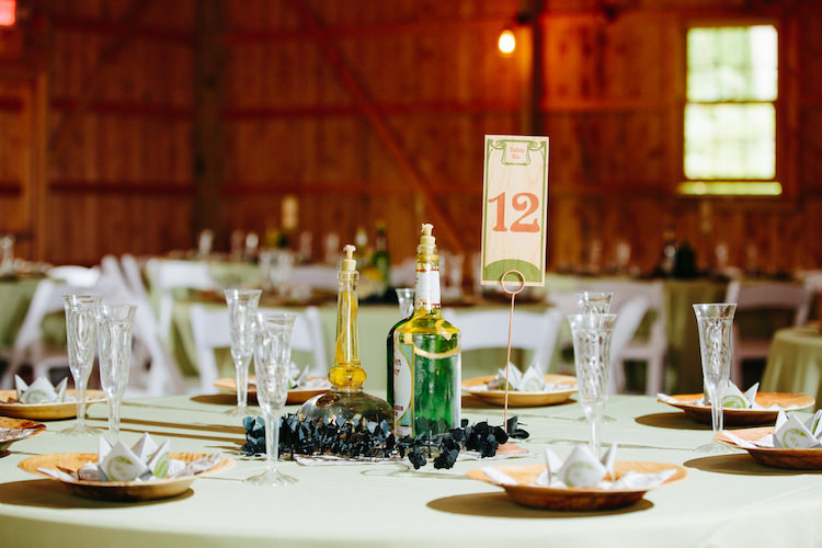 Table Setting Wooden Handmade Table Number Spirit Bottle Oil Lamps Greenery Origami Barn Reception Art Nouveau Autumn Burgundy Wedding http://www.jbonadiophoto.com/