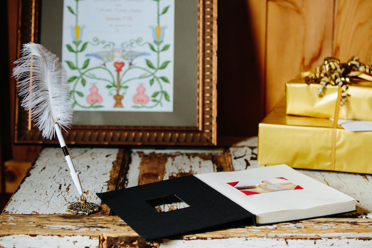 Guest Book Feather Pen Framed Artwork Presents Art Nouveau Autumn Burgundy Wedding http://www.jbonadiophoto.com/
